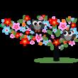 Virágos fa baglyokkal színes falmatrica