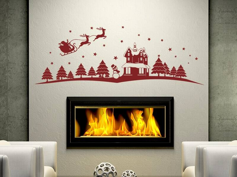 Karácsonyi táj falmatrica