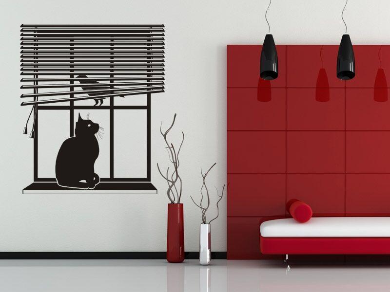 Ablakban ülő macska falmatrica