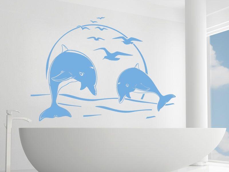 Delfinek a naplementében falmatrica