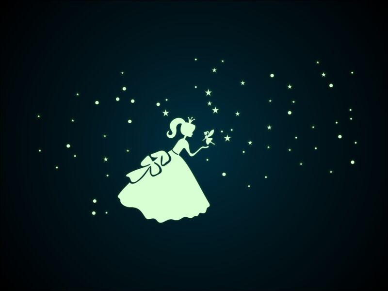Foszforeszkáló hercegnő falmatrica
