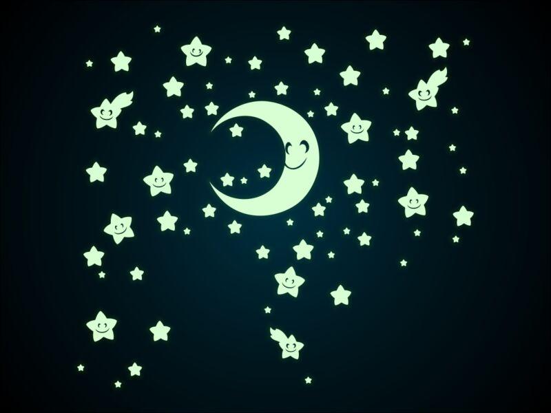 Foszforeszkáló hold és csillagok falmatrica
