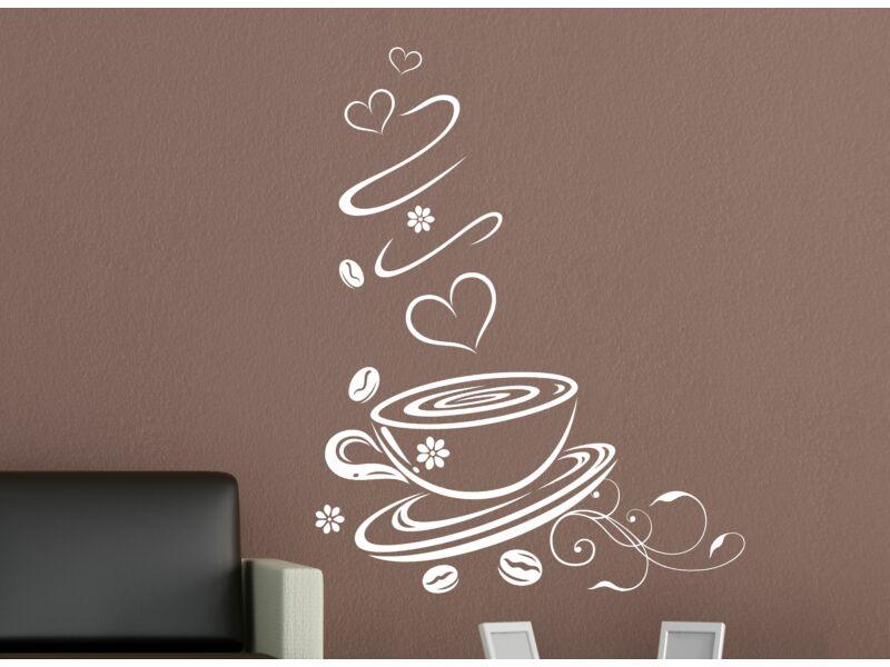 Kávés falmatrica szivecskékkel