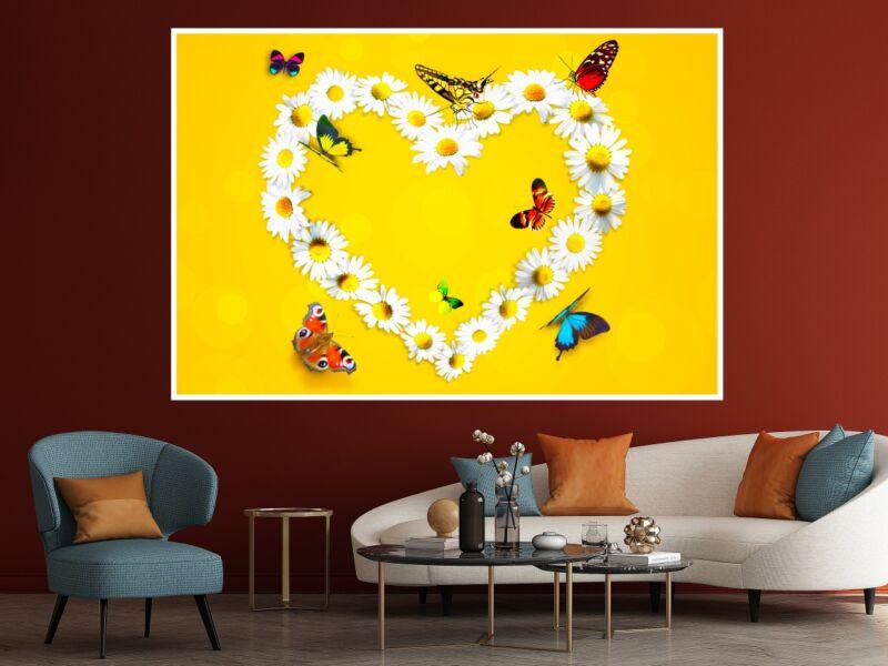 Kamilla szív lepkékkel - Öntapadós poszter