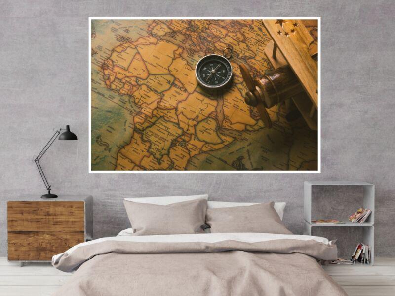 Vintage Afrika térkép iránytűvel - Öntapadós poszter