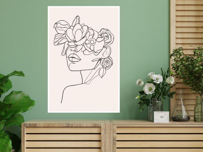 Virágos női portré - Öntapadós poszter