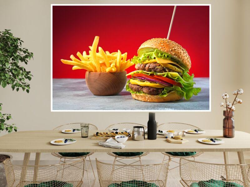 Hamburger és hasábburgonya - Öntapadós poszter