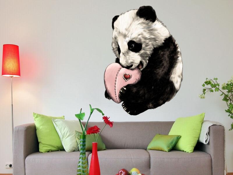 Panda maci szívvel színes falmatrica