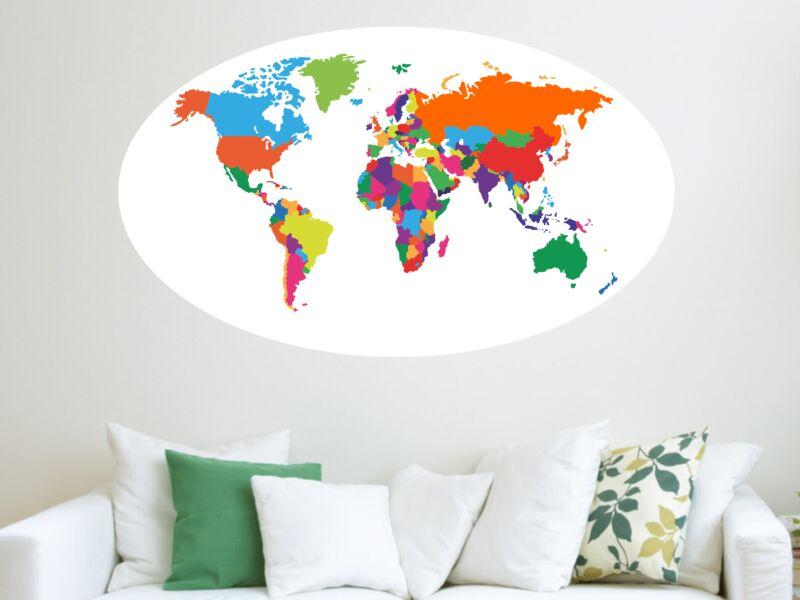 Föld térképe színes falmatrica