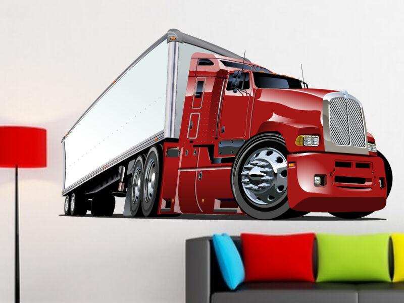 Piros kamion színes falmatrica