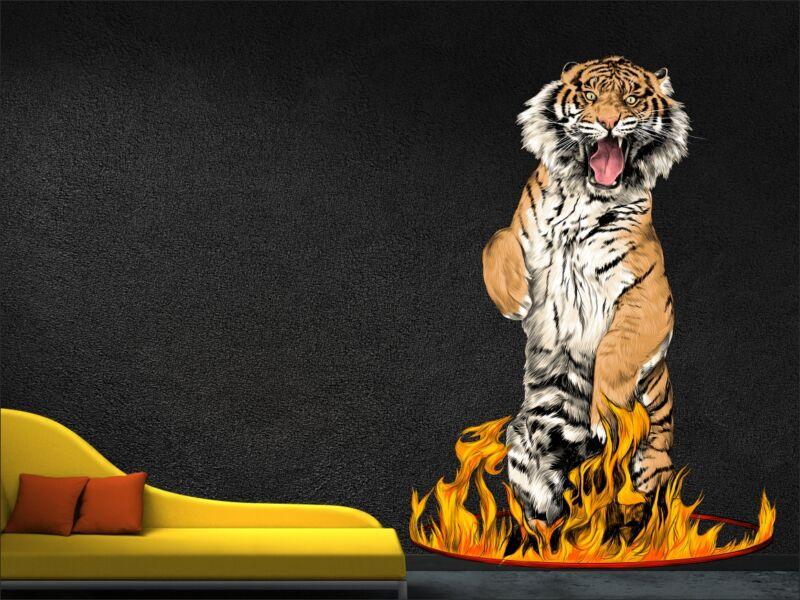 Tűzkarikában álló tigris - Színes falmatrica