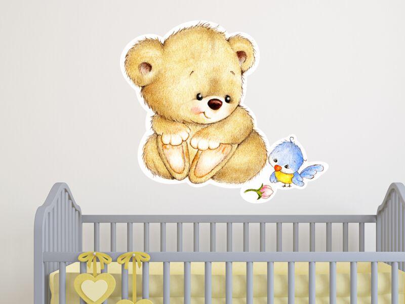 Aranyos Teddy maci színes falmatrica
