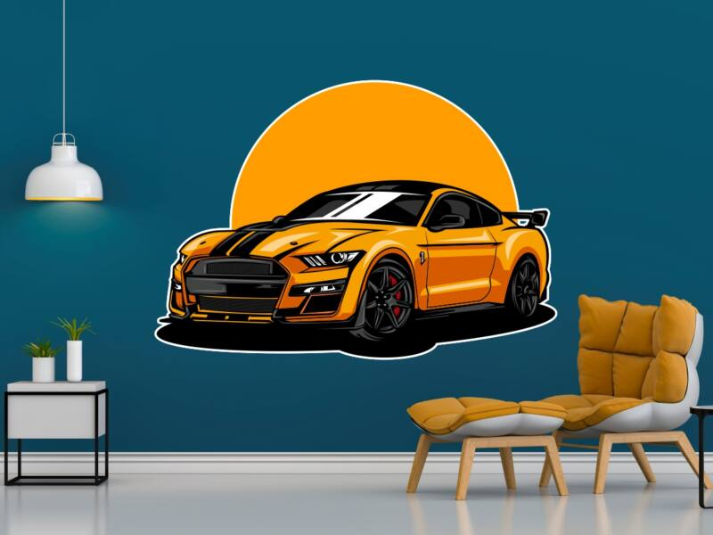 Modern sportkocsi - Színes falmatrica