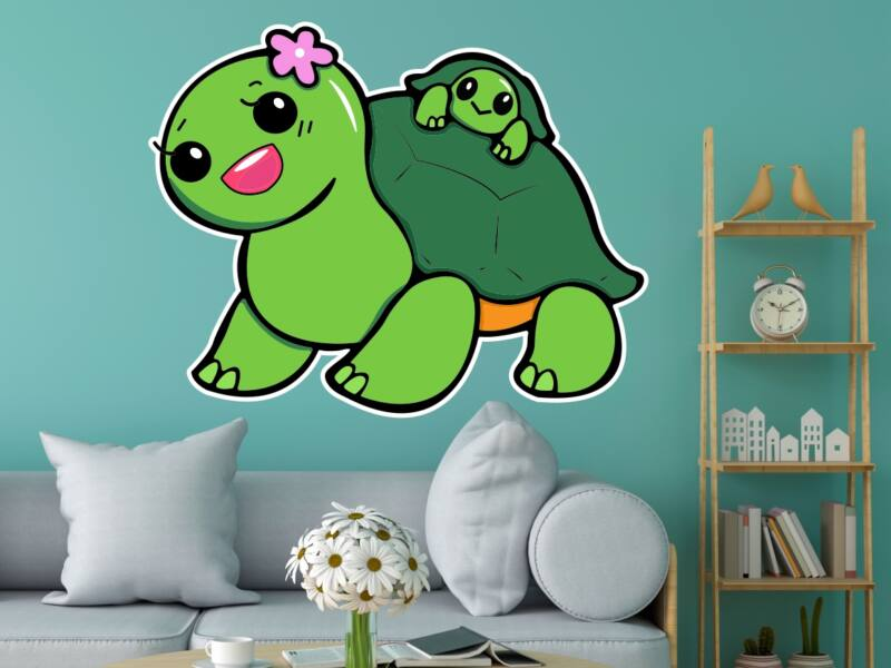 Aranyos Teknős - Színes falmatrica