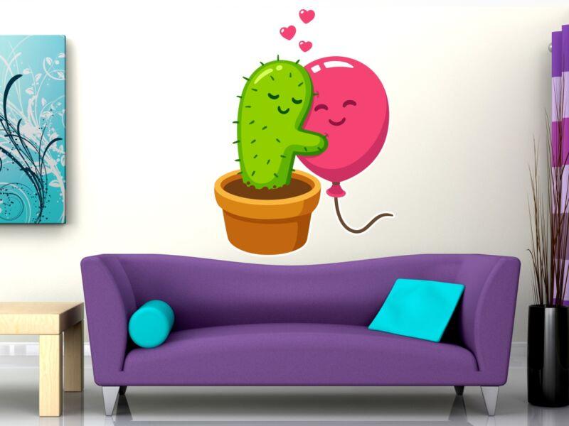 Lufit ölelő kaktusz - Színes falmatrica