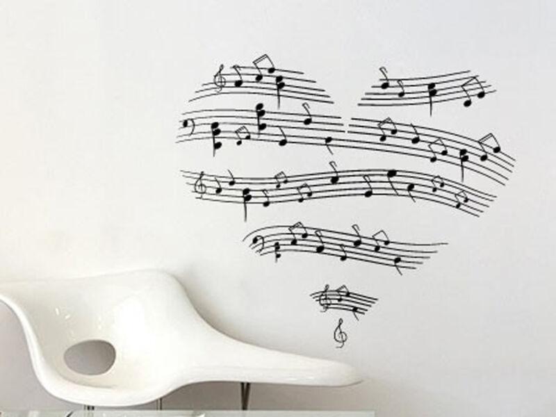 Szív hangjegyekből falmatrica