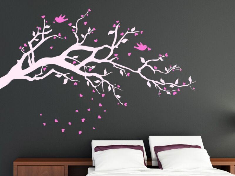 Kétszínű fa szívecskékkel falmatrica