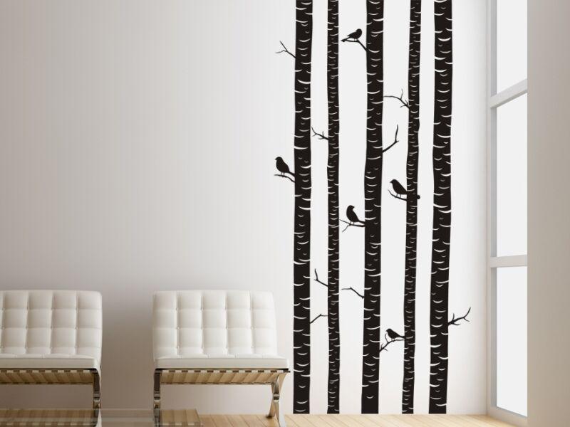 Téli erdő madarakkal falmatrica