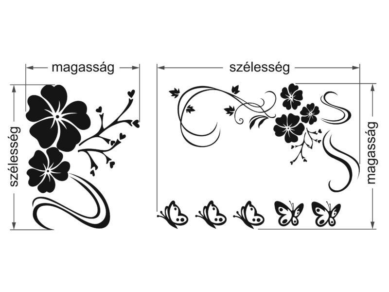 2 részes virágos falmatrica   - Méret Extra nagy    - Falmatrica színe Sárga 021
